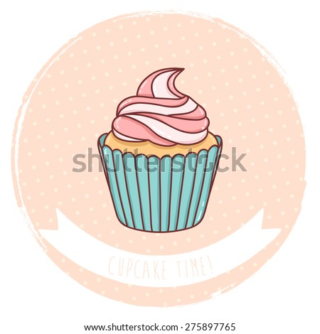 illustration of cute cartoon cupcake on pastel pink polka dots background. can be used for greeting cards or party invitations - stock vector