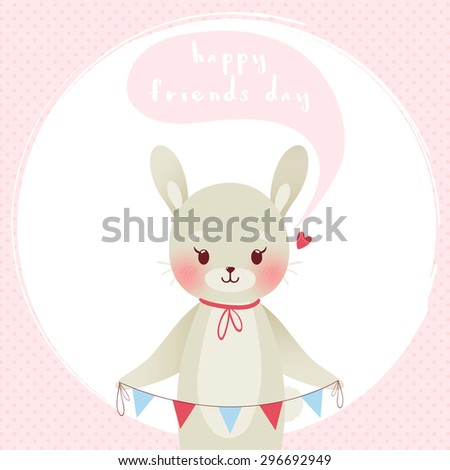 illustration of cute cartoon dog on pastel pink polka dots background with happy friends day text message. friends day greeting card template - stock vector