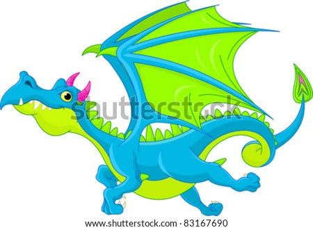 Illustration of Cute Cartoon  dragon flaying - stock vector