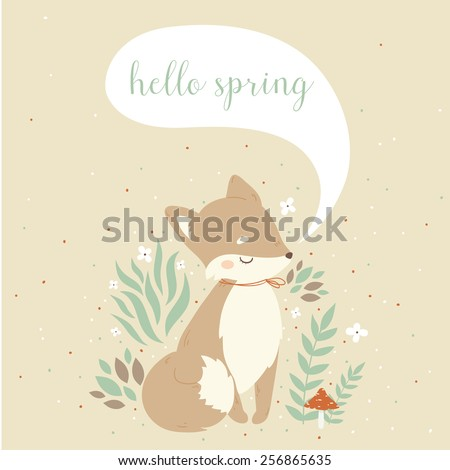 illustration of cute cartoon foxes, leaves, berries, mushrooms with hello spring text message on pastel background. can be used for greeting cards or birthday invitations - stock vector