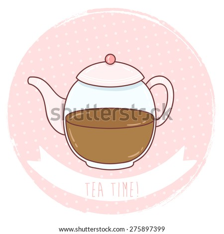illustration of cute cartoon tea pot on pastel pink polka dots background. can be used for greeting cards or party invitations - stock vector
