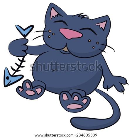 Illustration of cute cat - stock vector