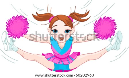 Illustration of cute cheerleading girl jumping in air - stock vector