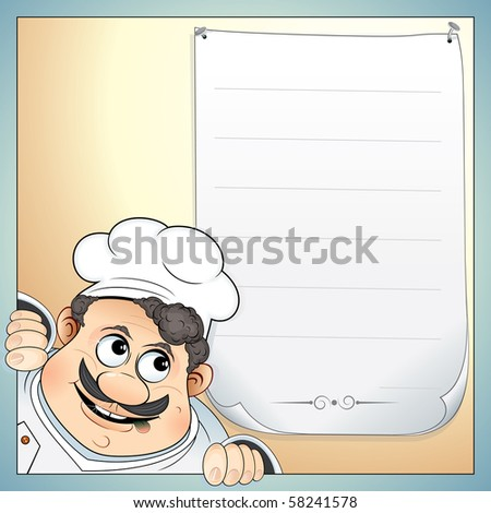Illustration of Cute Chef with blank menu-for your own text - stock vector