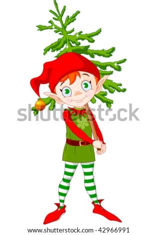 Illustration of Cute Christmas elf hording Christmas tree - stock vector