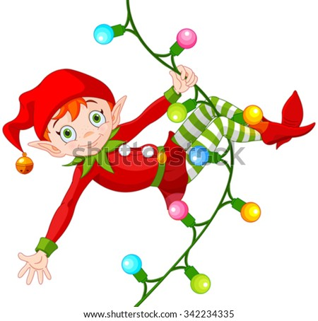 Illustration of cute Christmas elf swinging on a garland - stock vector
