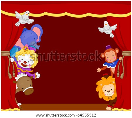 Illustration of Cute Circus Clowns and Animals on Stage