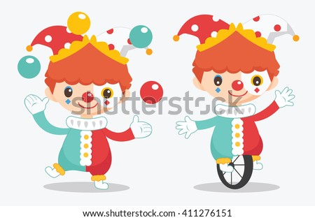 illustration of cute clown - stock vector