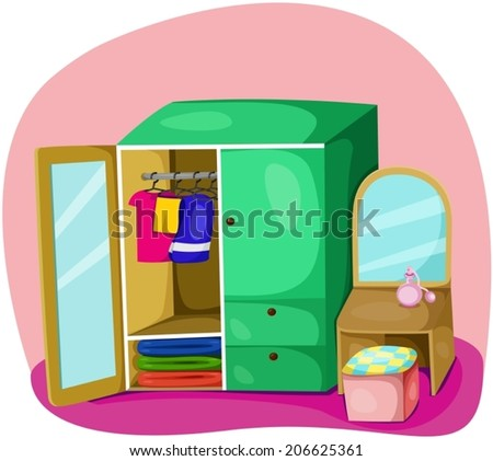 illustration of cute colorful wardrobe  - stock vector