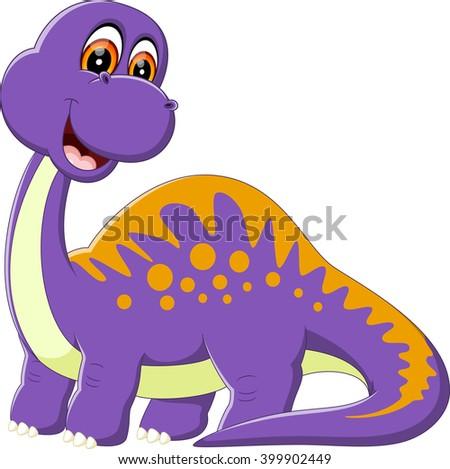 illustration of Cute dinosaur cartoon - stock vector
