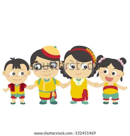 illustration of cute family with white,vector