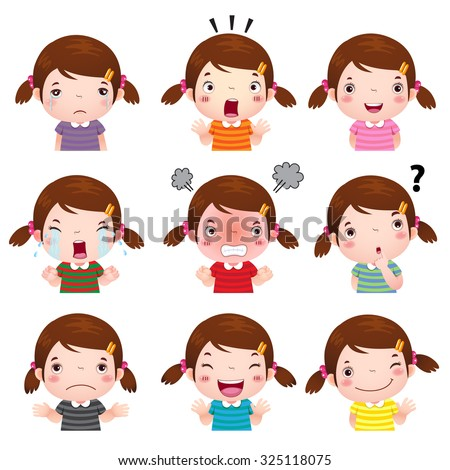 Illustration of cute girl  faces showing different emotions - stock vector