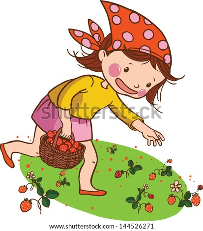 Illustration of Cute Girl picking  strawberry isolated on white background. VECTOR. Children illustration for School books and more. Separate Objects.  - stock vector