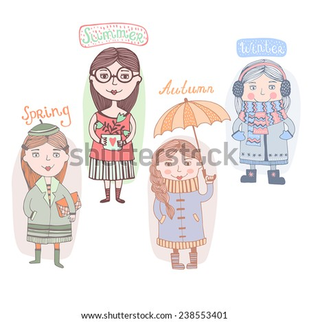illustration of cute girls wearing different dresses in different season - stock vector
