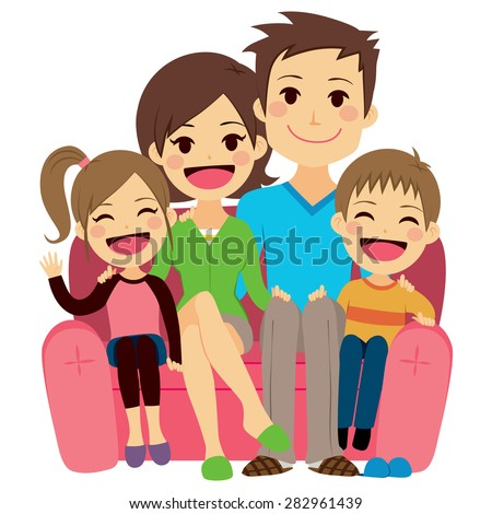 Illustration of cute happy family of four people sitting on sofa - stock vector
