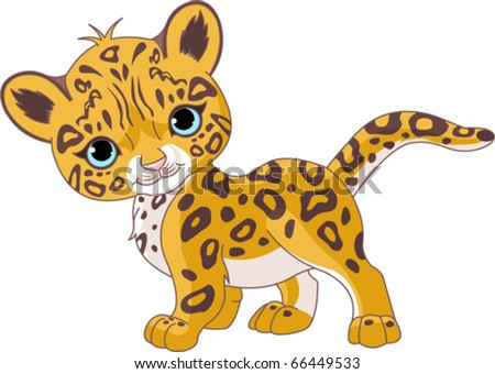 Illustration of Cute Jaguar (Panther) Cub - stock vector