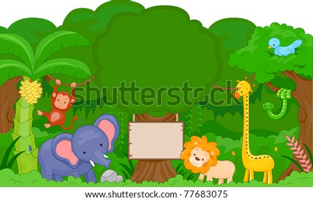 Illustration of Cute Jungle Animals with blank board - stock vector