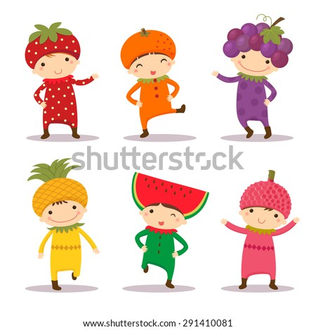 illustration of cute kids in strawberry orange grape pine apple watermelon and