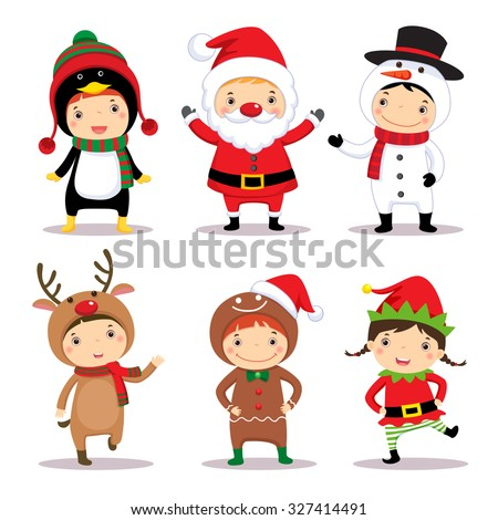 Illustration of cute kids wearing Christmas costumes - stock vector