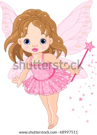 Illustration of Cute little baby fairy in fly - stock vector