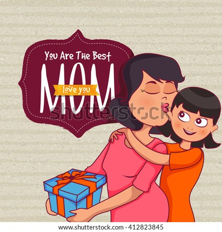 Illustration of cute little Daughter wishing and giving a beautiful gift to her Mother on occasion of Happy Mother's Day. - stock vector