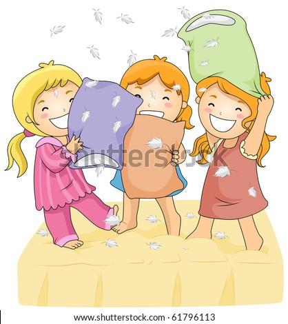 cute pillow clipart. illustration of cute little girls having a pillow fight - vector clipart 1