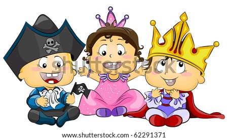 Illustration of Cute Little Kids Wearing Costumes - Vector - stock vector
