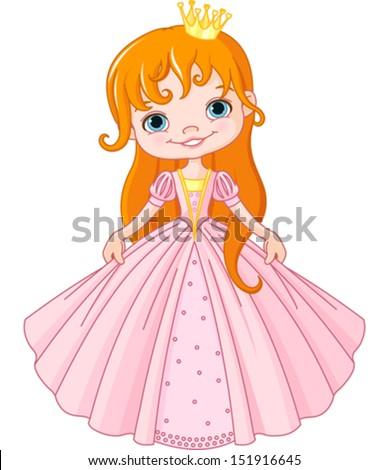 Illustration of cute little princess  - stock vector