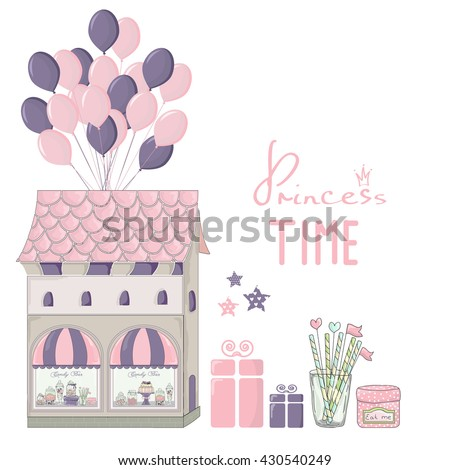 Illustration of cute miniature candy shop with balloons and presents. Pink post card for little girl. Princess time.Toy house. Birthday postcard. - stock vector