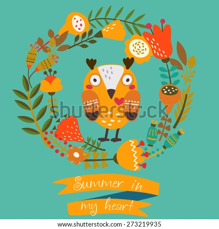 """Illustration of cute owl with frame made of bright flowers. Ribbon with inscription """" Summer in my heart"""" - stock vector"""