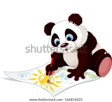 Illustration of cute panda drawing picture - stock vector