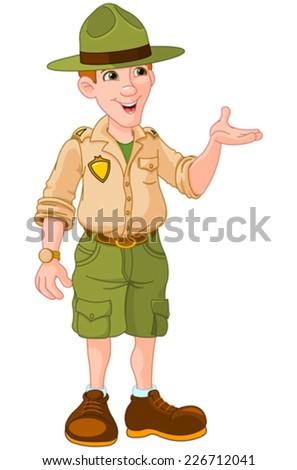 Illustration of cute park ranger in uniform - stock vector
