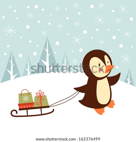 Illustration of cute penguin bringing presents - stock vector