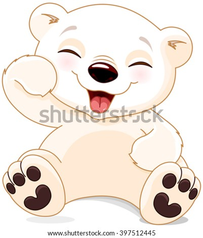Illustration of cute polar bear is laughing