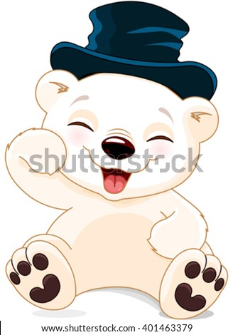 Illustration of cute polar bear is laughing - stock vector