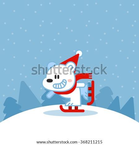 Illustration of cute polar bear on ice skates - stock vector