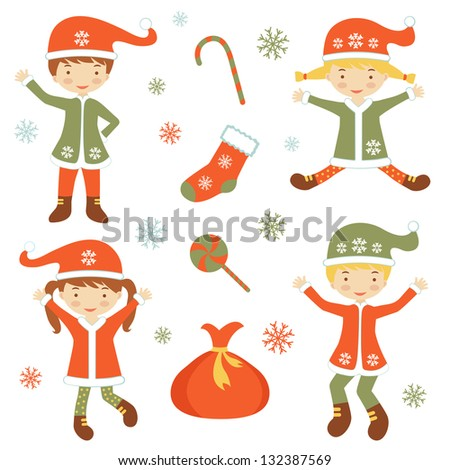 Illustration of Cute Santa helpers - stock vector