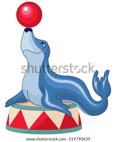 Illustration of cute seal plays ball - stock vector