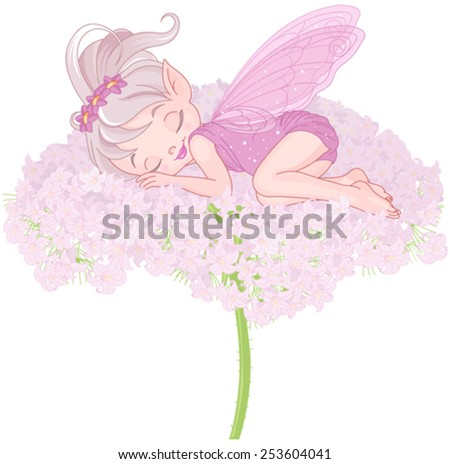 Illustration of cute sleeping Pixy Fairy - stock vector