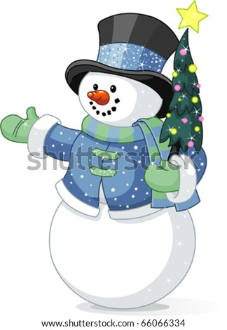 Illustration of cute  snowman with Christmas tree - stock vector