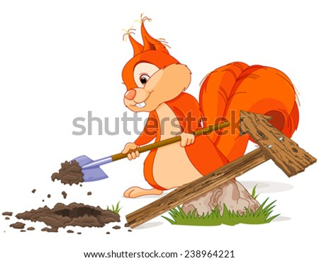 Illustration of cute squirrel sets wooden pointer  - stock vector