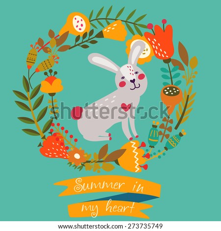 """Illustration of cute sweet bunny with frame made of bright flowers. Ribbon with inscription """" Summer in my heart"""" - stock vector"""