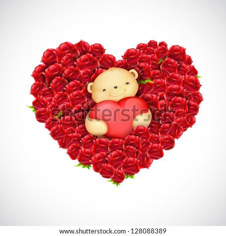 illustration of cute teddy bear couple holding heart Balloon - stock vector