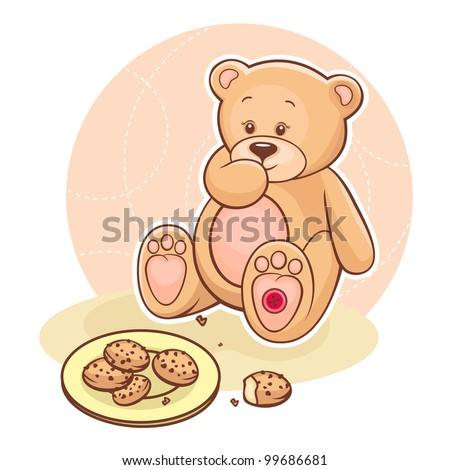 Illustration of cute Teddy Bear eating cookies. - stock vector
