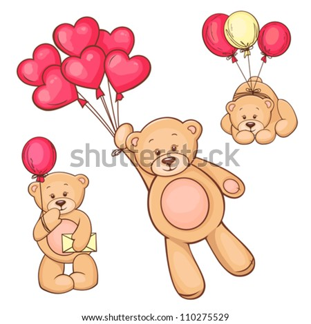 Illustration of cute Teddy Bear with red heart balloons. - stock vector