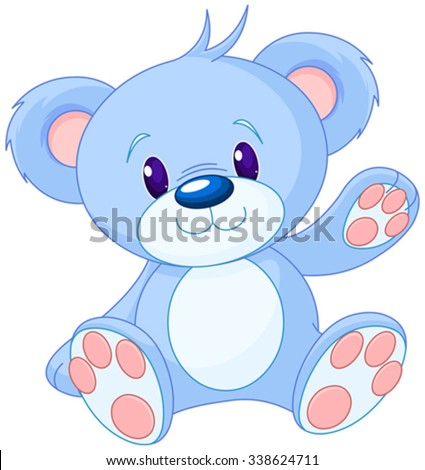 Illustration of cute toy bear  - stock vector