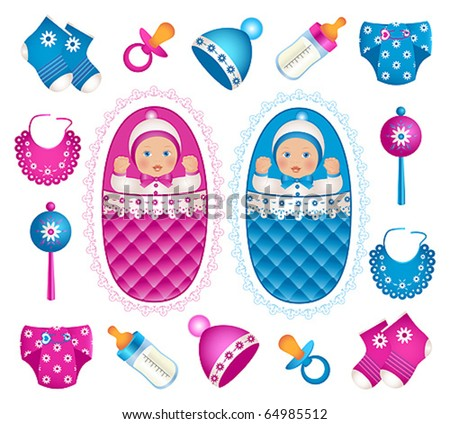 Illustration of cute twins with different accessories - stock vector