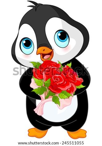 Illustration of Cute Valentine day penguin - stock vector