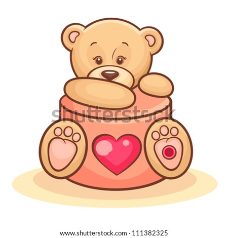 Illustration Of Cute Valentine Teddy Bear With Gift. - stock vector