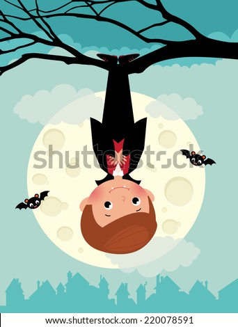 Illustration of cute vampire on Halloween night/Vampire on Halloween night/Vampire Halloween hanging from a tree upside down - stock vector